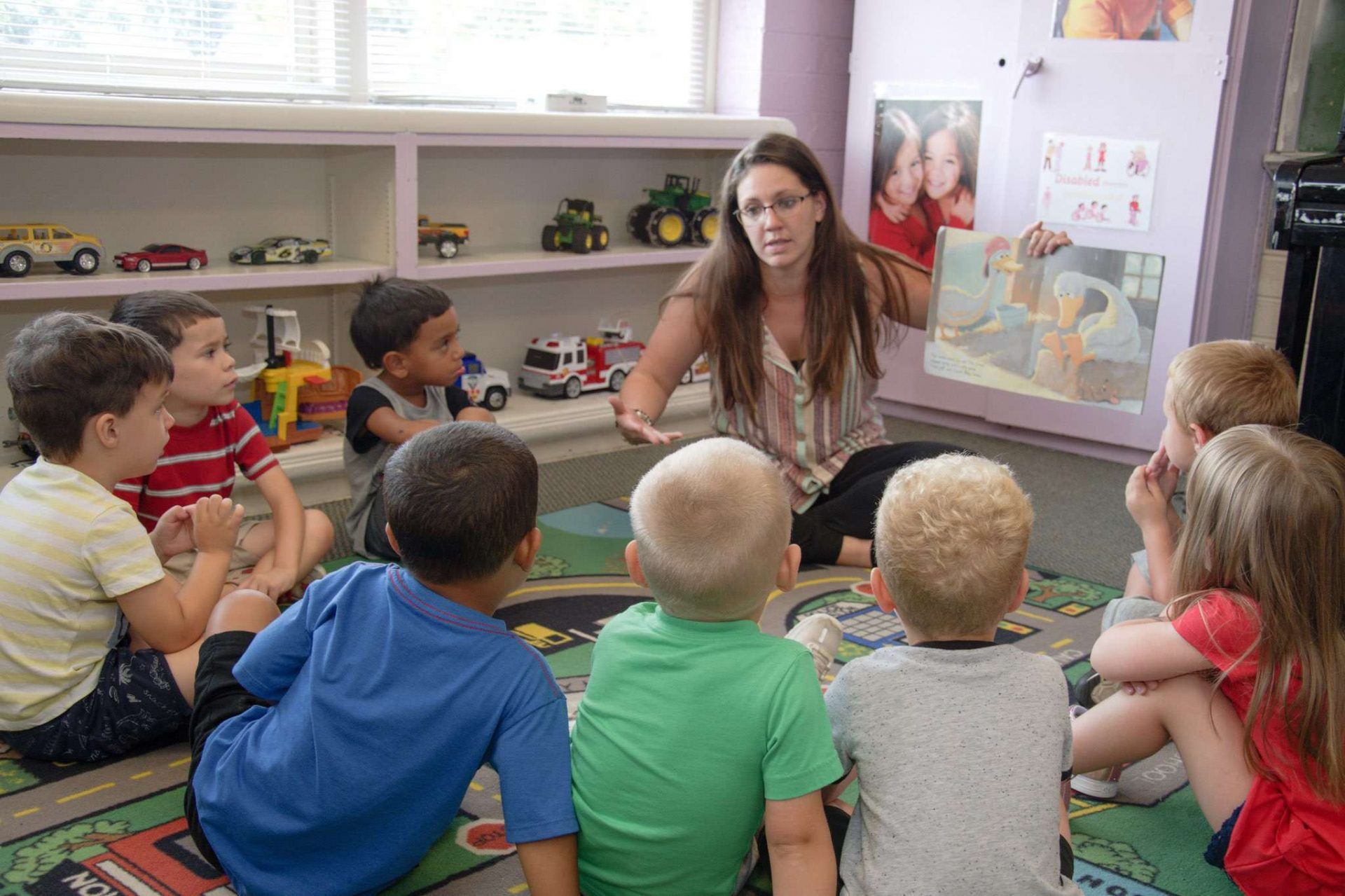 Story time with a teacher and children
